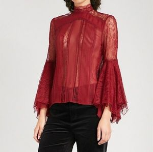 Alice + Olivia Ivy Red lace silk blouse 8